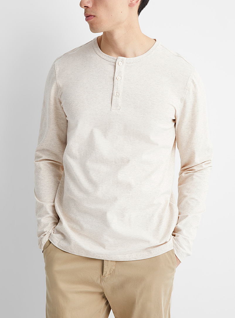 Le 31 Cream Beige Stretch organic cotton Henley T-shirt for men