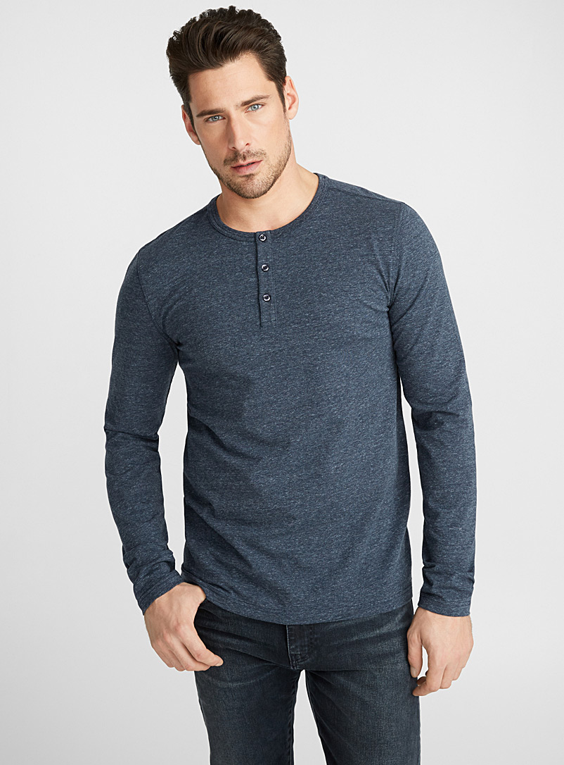 Le 31 Marine Blue Stretch organic cotton Henley T-shirt for men