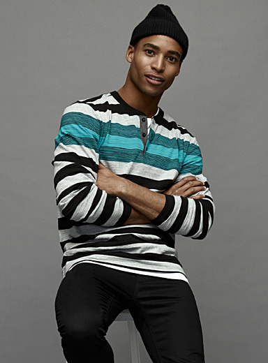 Mixed stripe Henley T-shirt