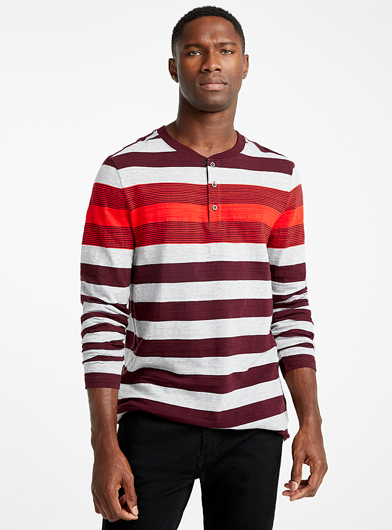 Mixed stripe organic cotton Henley T-shirt - Prints - Mauve