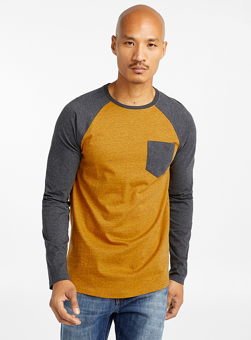 Le 31 Dark Yellow Heathered raglan organic cotton T-shirt for men
