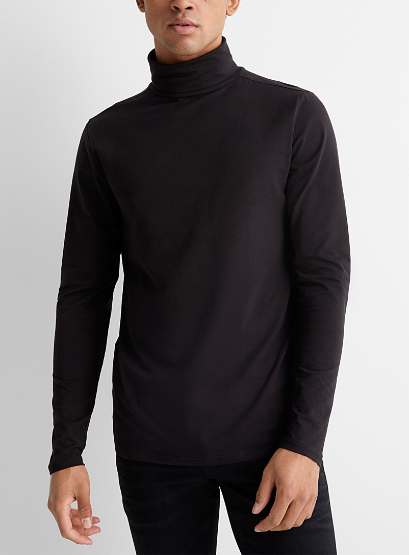 Stretch organic cotton jersey turtleneck