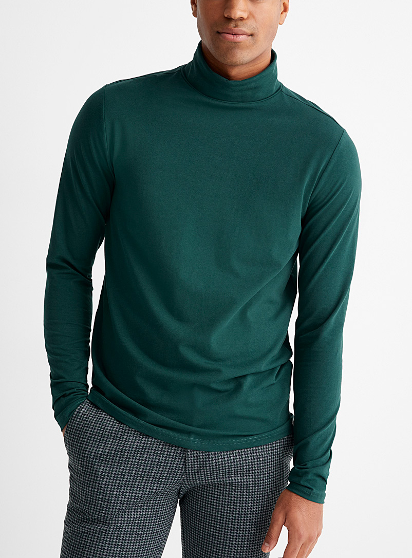 Le 31 Green Stretch organic cotton jersey turtleneck for men