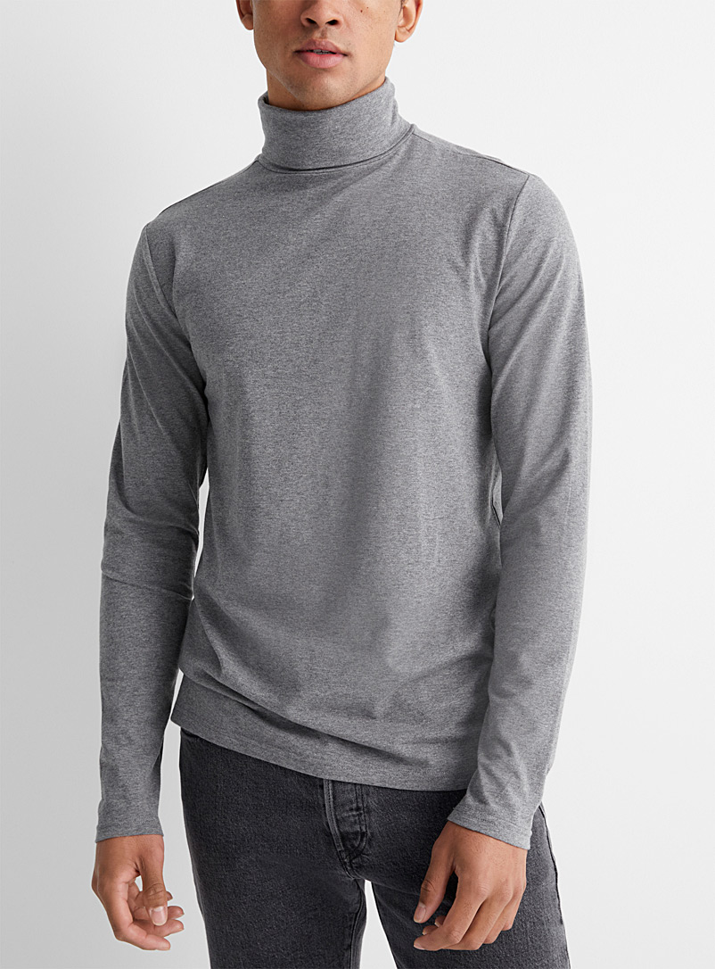 Le 31 Grey Stretch organic cotton jersey turtleneck for men