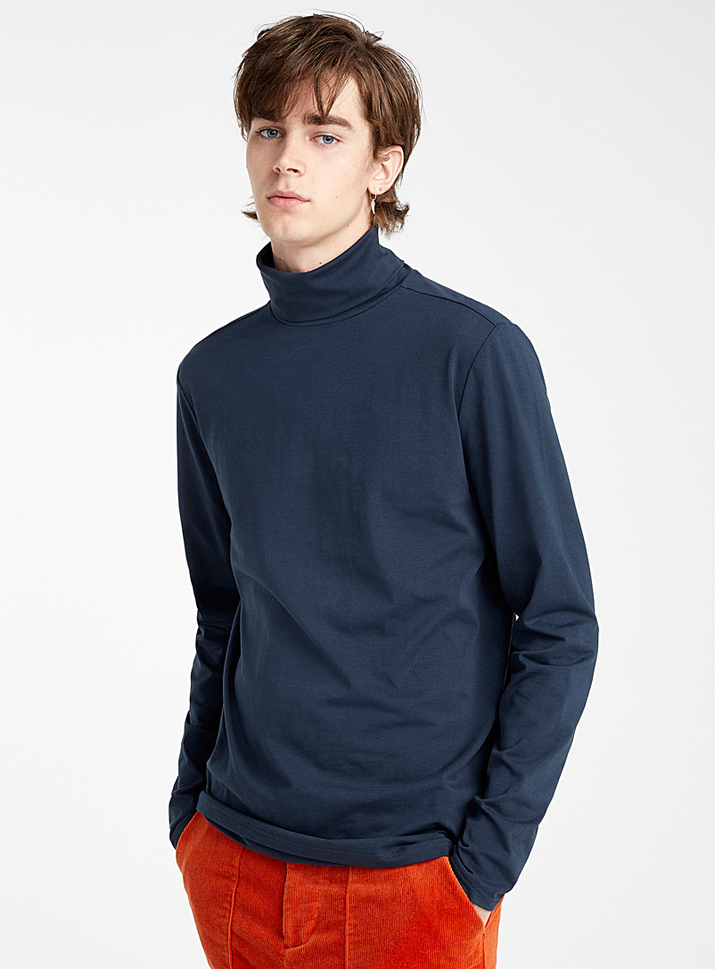 Le 31 Dark Blue Stretch organic cotton jersey turtleneck for men