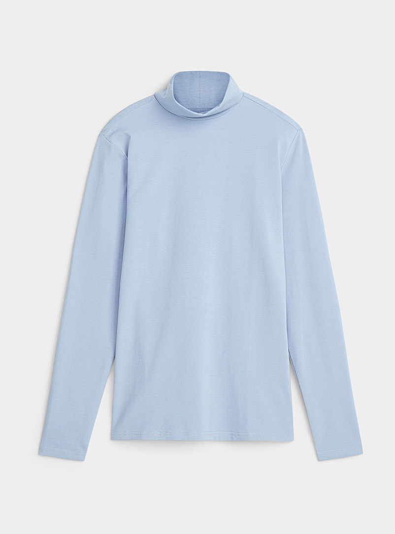Le 31 Baby Blue Stretch organic cotton jersey turtleneck for men