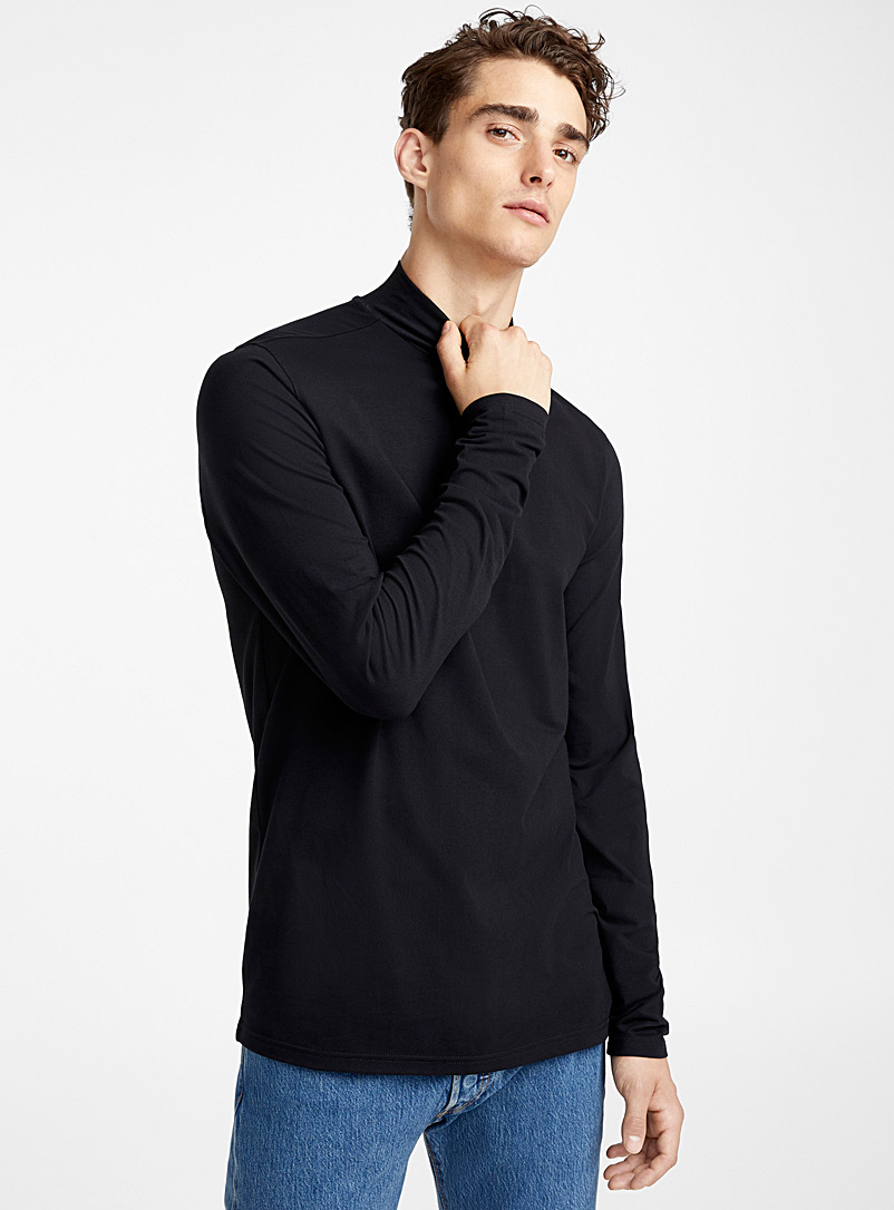Le 31 Black Mock-neck organic cotton T-shirt for men