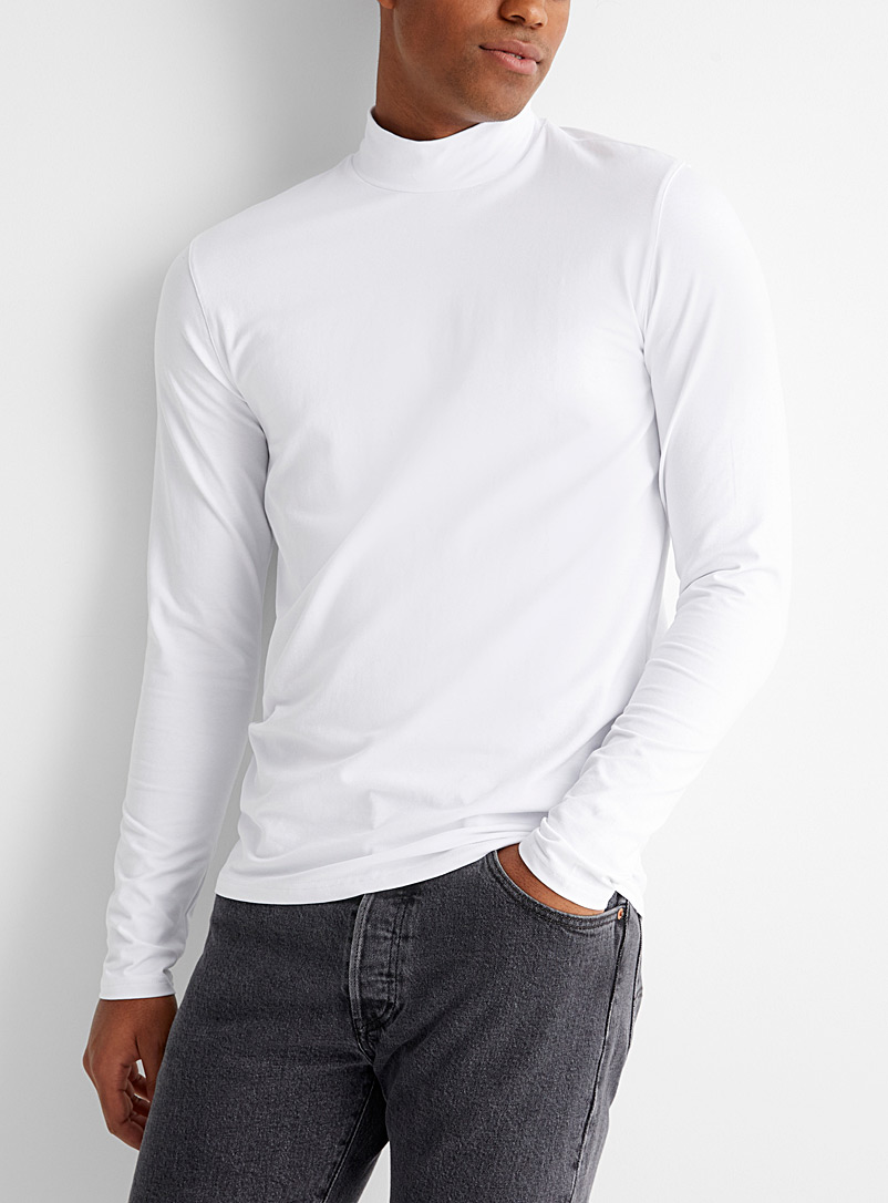 Mock-neck organic cotton T-shirt
