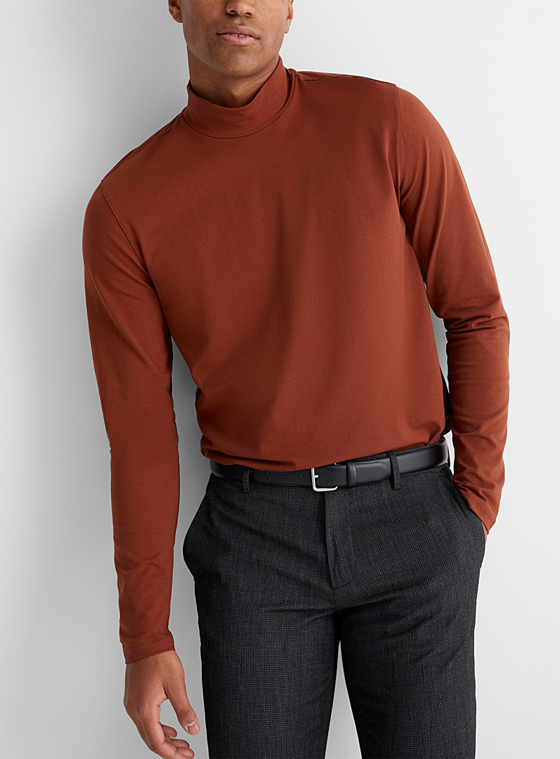 Le 31 Copper Mock-neck organic cotton T-shirt for men