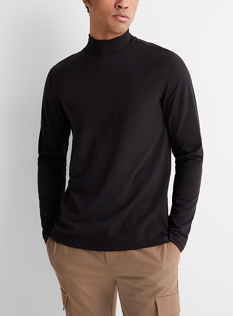 Le 31 Charcoal Mock-neck organic cotton T-shirt for men