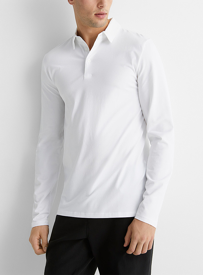 Le 31 White Stretch organic cotton polo for men