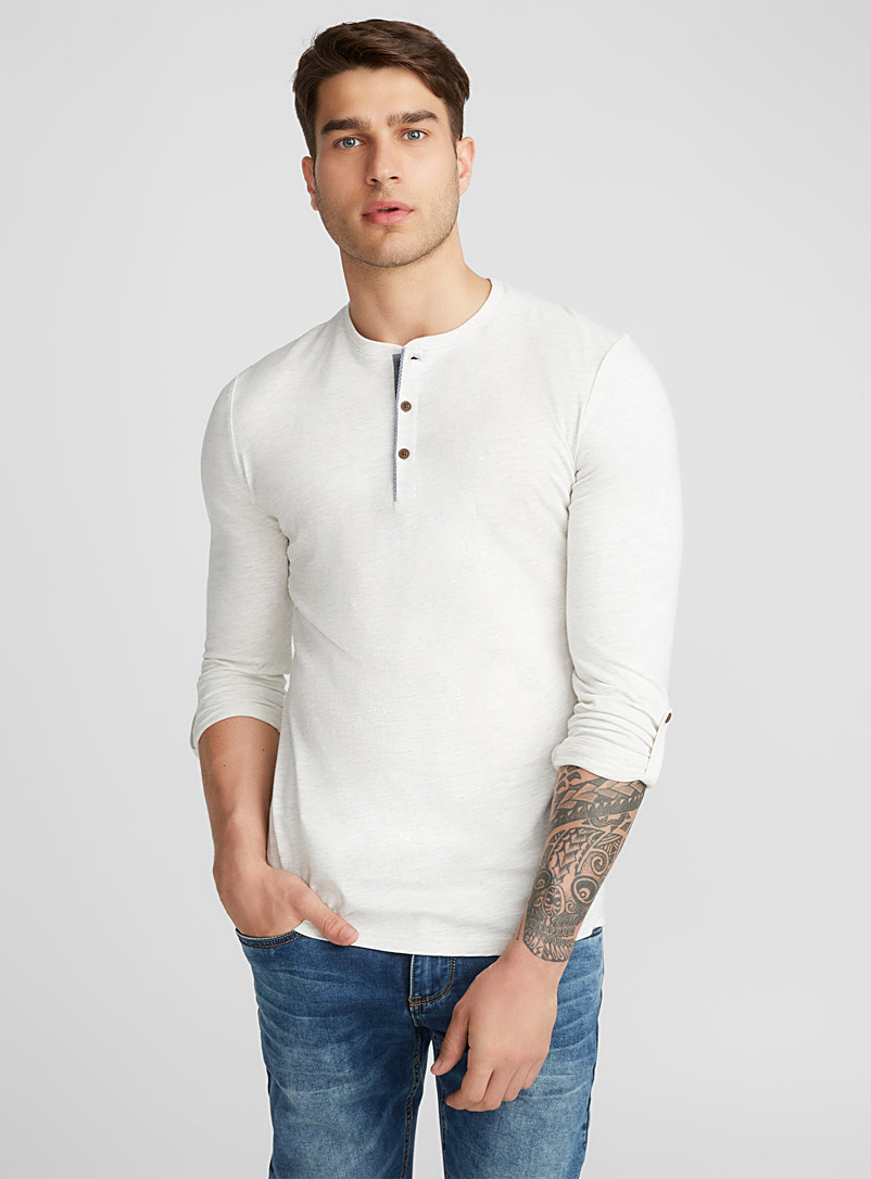 Trimmed henley T-shirt - Henleys - Cream Beige
