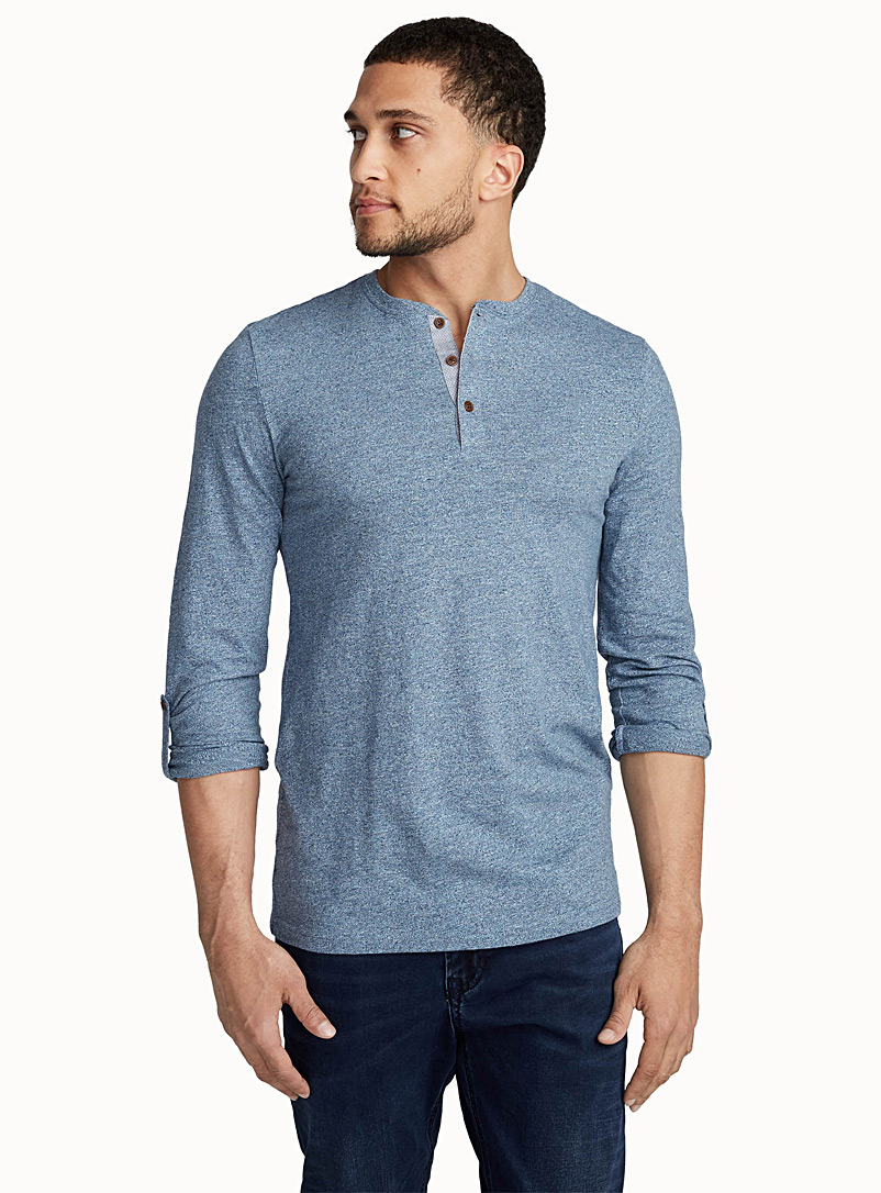 Trimmed henley T-shirt - Henleys - Blue