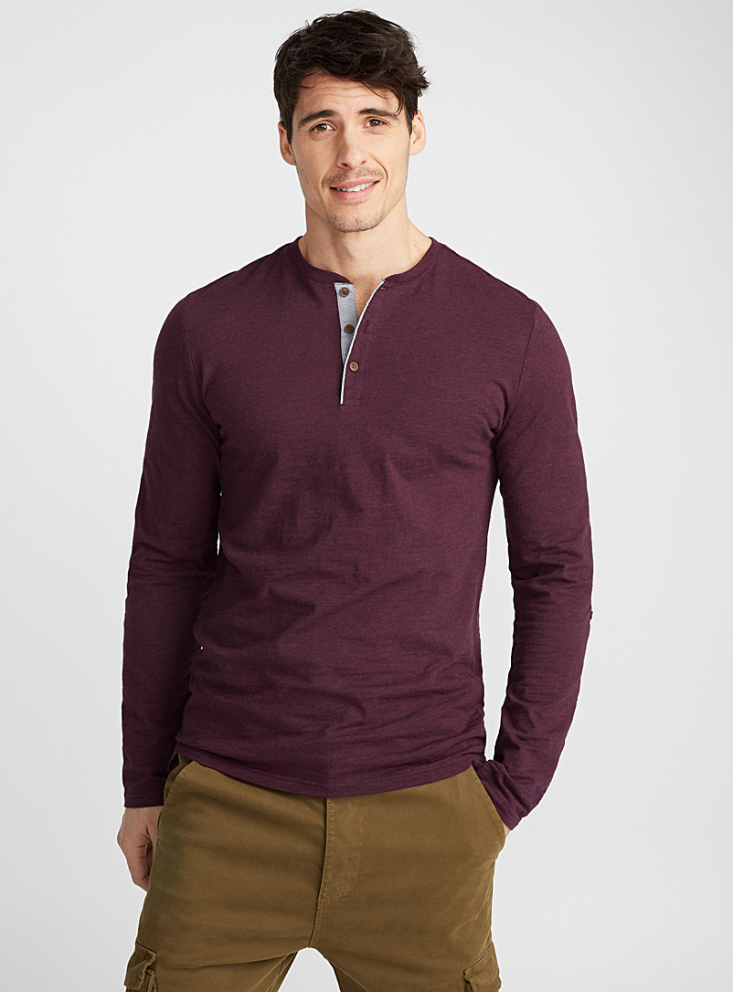 Trimmed henley T-shirt - Henleys - Cherry Red
