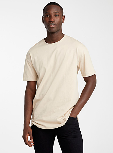 Le 31 Sand Organic cotton longline T-shirt for men