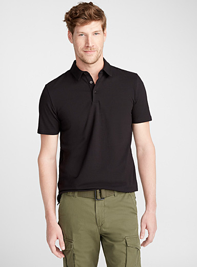 Le 31 Black Solid organic cotton polo for men