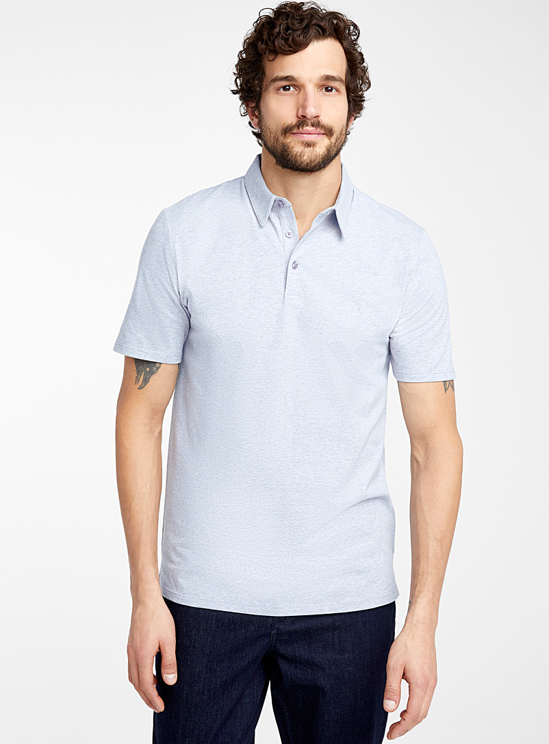 Le 31 Baby Blue Solid organic cotton polo for men