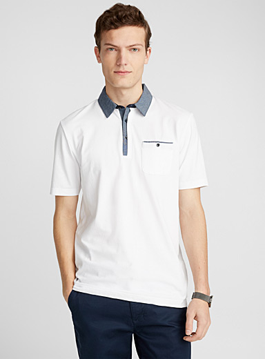Chambray accent organic cotton polo