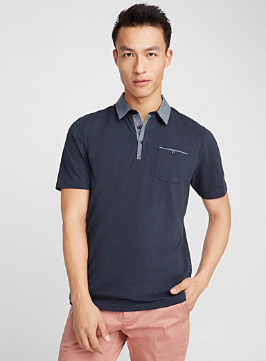Le polo coton bio accent chambray