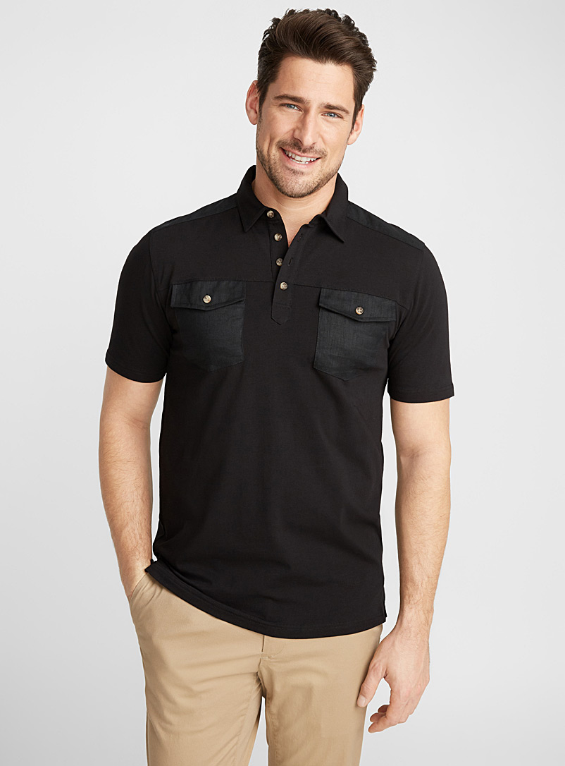 Mixed-media organic cotton polo - Polos - Black