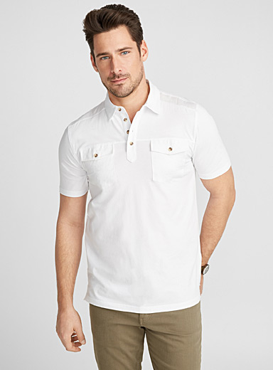Mixed-media organic cotton polo