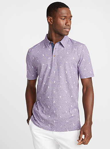 Vacation pattern organic cotton polo