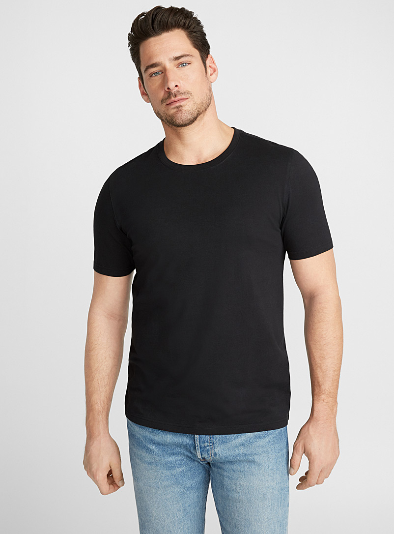 Le 31 Black Stretch organic cotton T-shirt for men