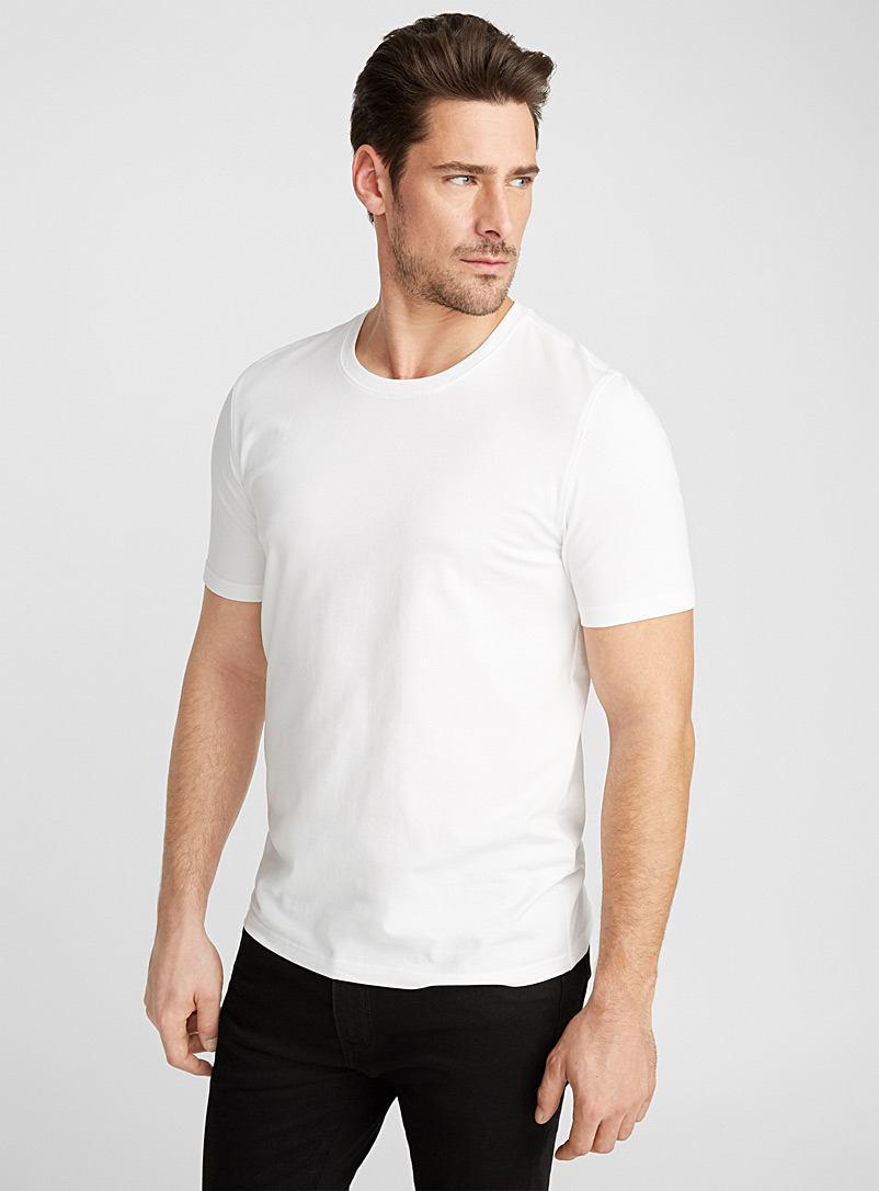 Le 31 White Stretch organic cotton T-shirt for men