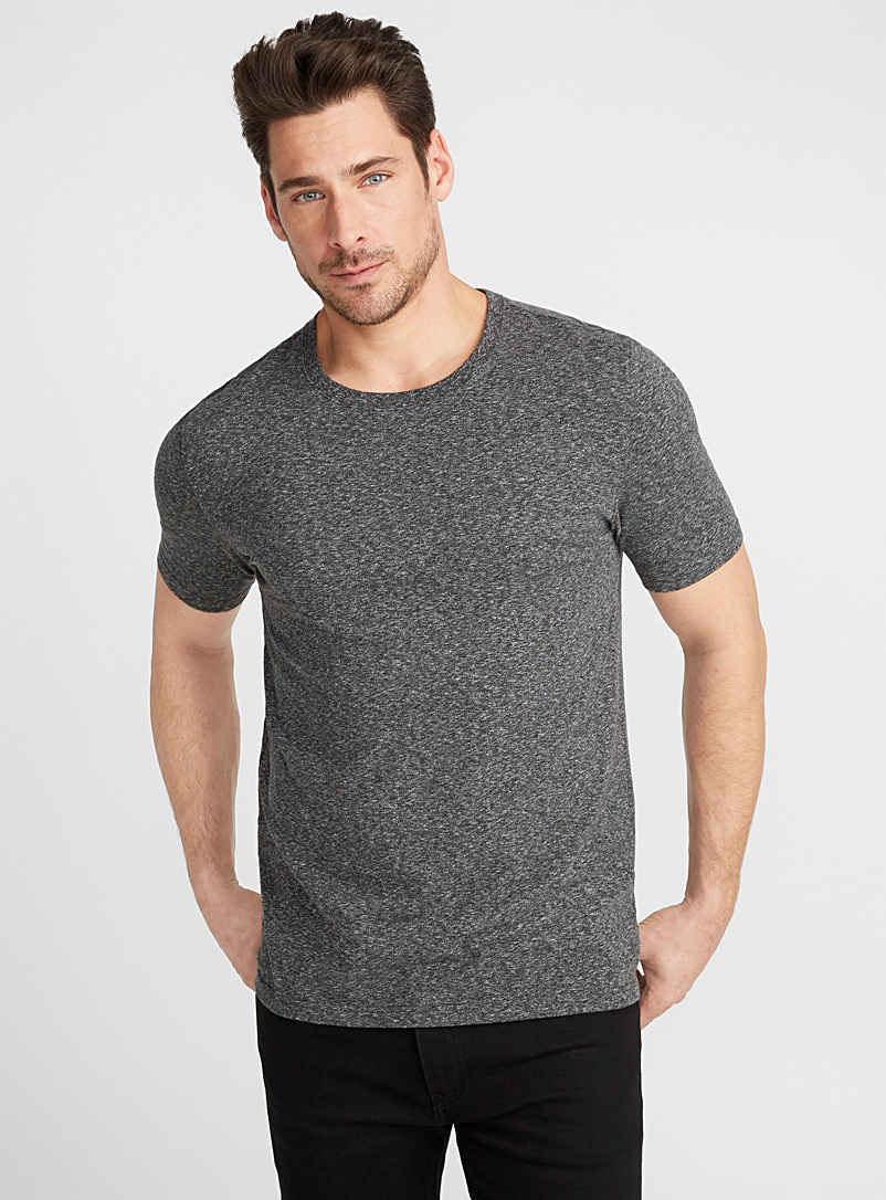Stretch organic cotton T-shirt - Short sleeves & 3/4 sleeves - Charcoal