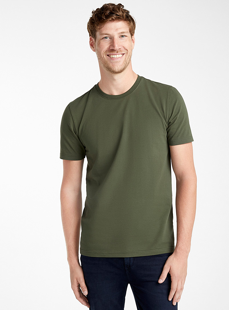 Stretch organic cotton T-shirt - Basics - Mossy Green