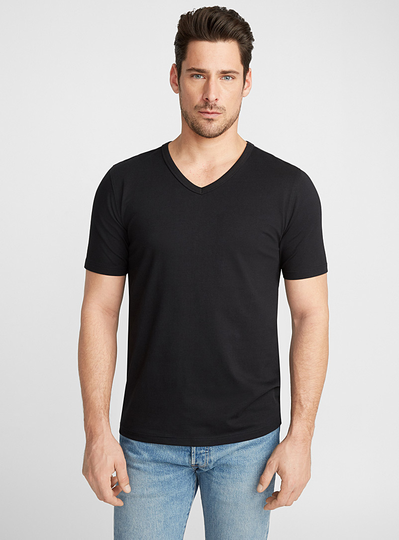 Stretch organic cotton V-neck T-shirt