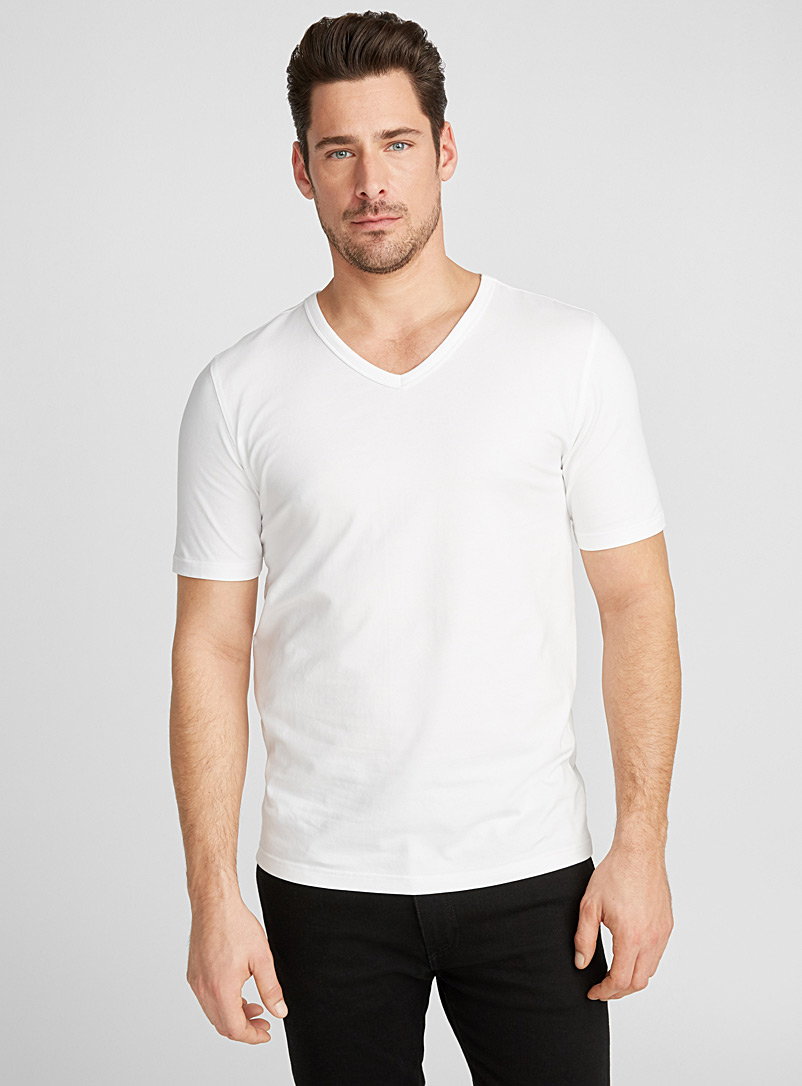 Le 31 White Stretch organic cotton V-neck T-shirt for men