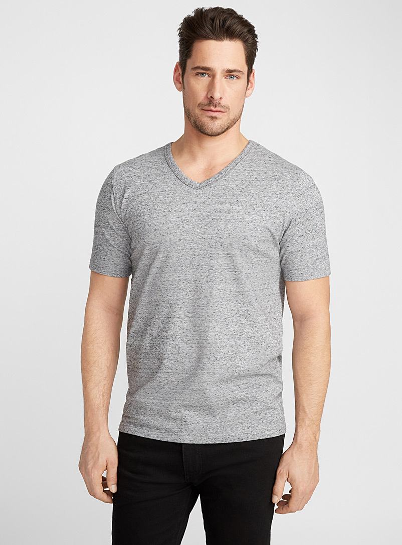 Le 31 Grey Stretch organic cotton V-neck T-shirt for men
