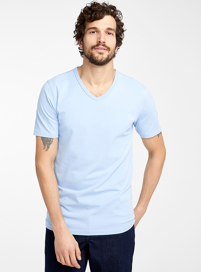 Le 31 Baby Blue Stretch organic cotton V-neck T-shirt for men