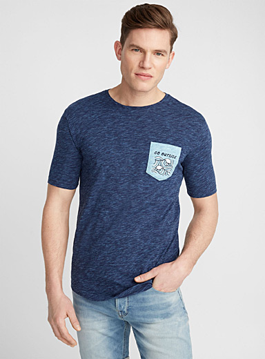 Heathered vacation pocket organic cotton T-shirt