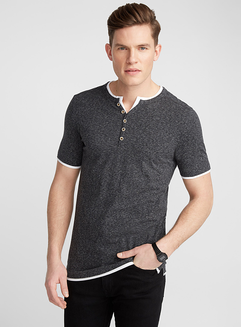 Layered buttoned-collar T-shirt - Henleys