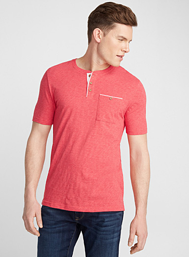 Trimmed buttoned-collar T-shirt