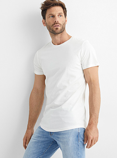 Le 31 Ivory White Organic cotton muscle fit T-shirt for men