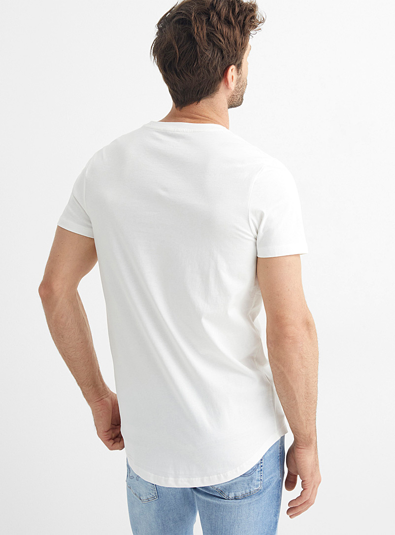 Fitted longline T-shirt - Short sleeves & 3/4 sleeves - Ivory White