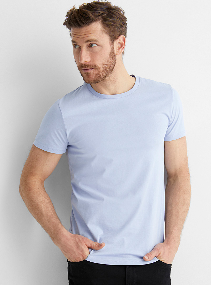 Le 31 Baby Blue Organic cotton muscle-fit T-shirt for men