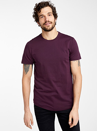 Le 31 Dark Crimson Organic cotton muscle fit T-shirt for men