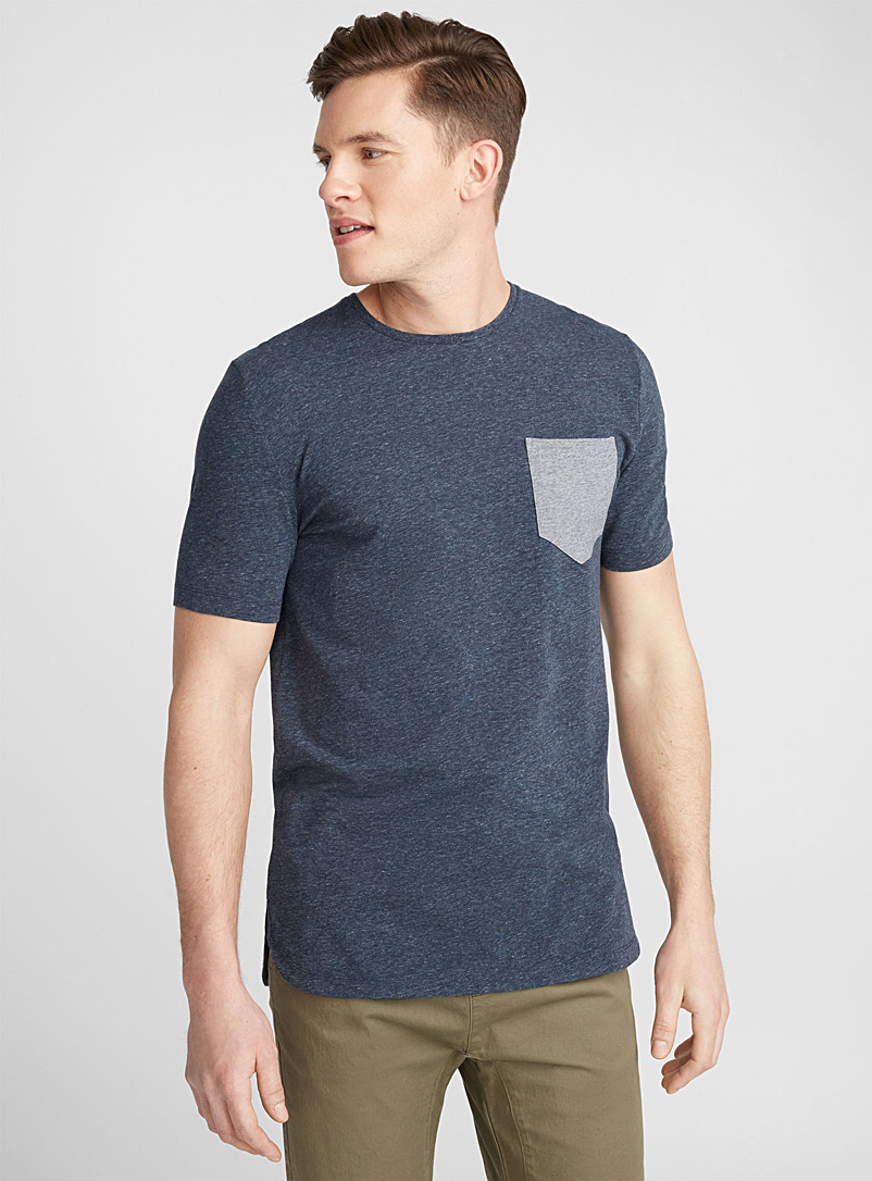Micro stripe pocket T-shirt - Short sleeves & 3/4 sleeves - Marine Blue