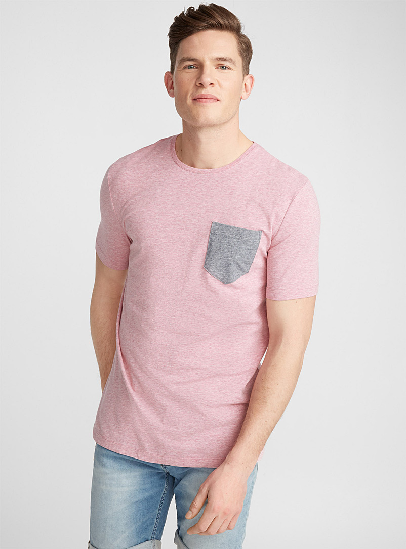 Micro stripe pocket organic cotton T-shirt - Short sleeves & 3/4 sleeves - Pink