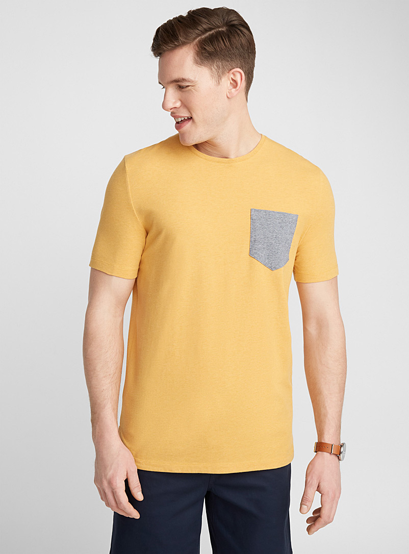 Micro stripe pocket T-shirt - Short sleeves & 3/4 sleeves - Golden Yellow