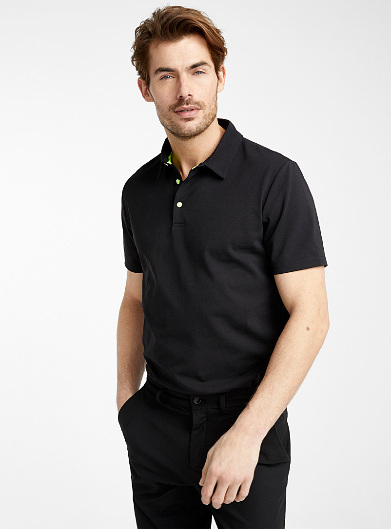 Le 31 Black Accent button organic cotton polo for men