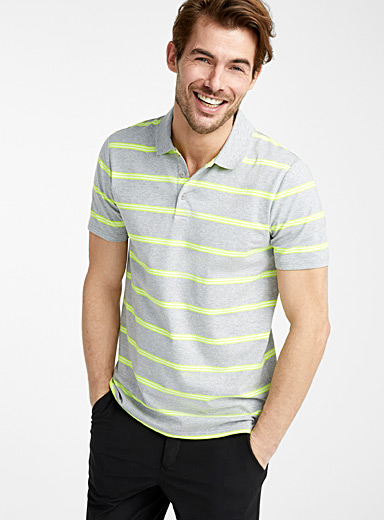 Le 31 Grey Neon stripe organic cotton polo for men