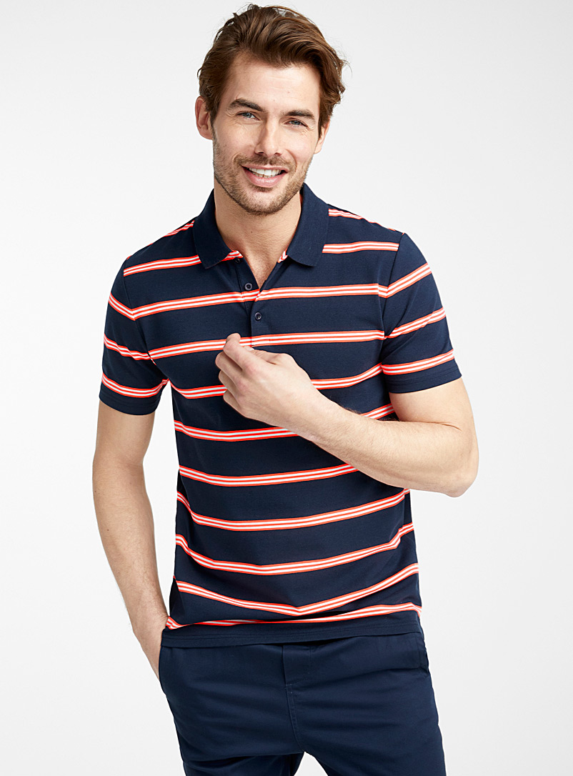 Le 31 Dark Blue Neon stripe organic cotton polo for men