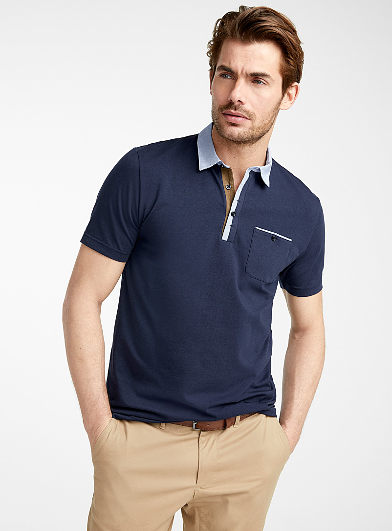 Le 31 Dark Blue Striped poplin accent polo   for men