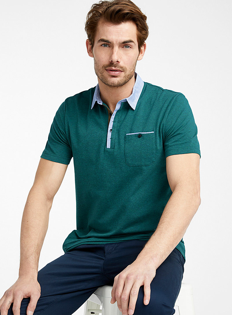 Le 31 Teal Striped poplin accent polo   for men