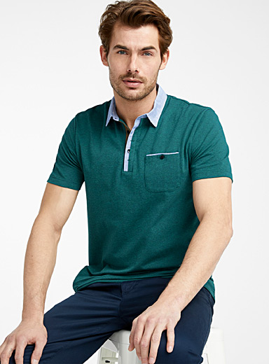 Striped poplin accent polo <br>